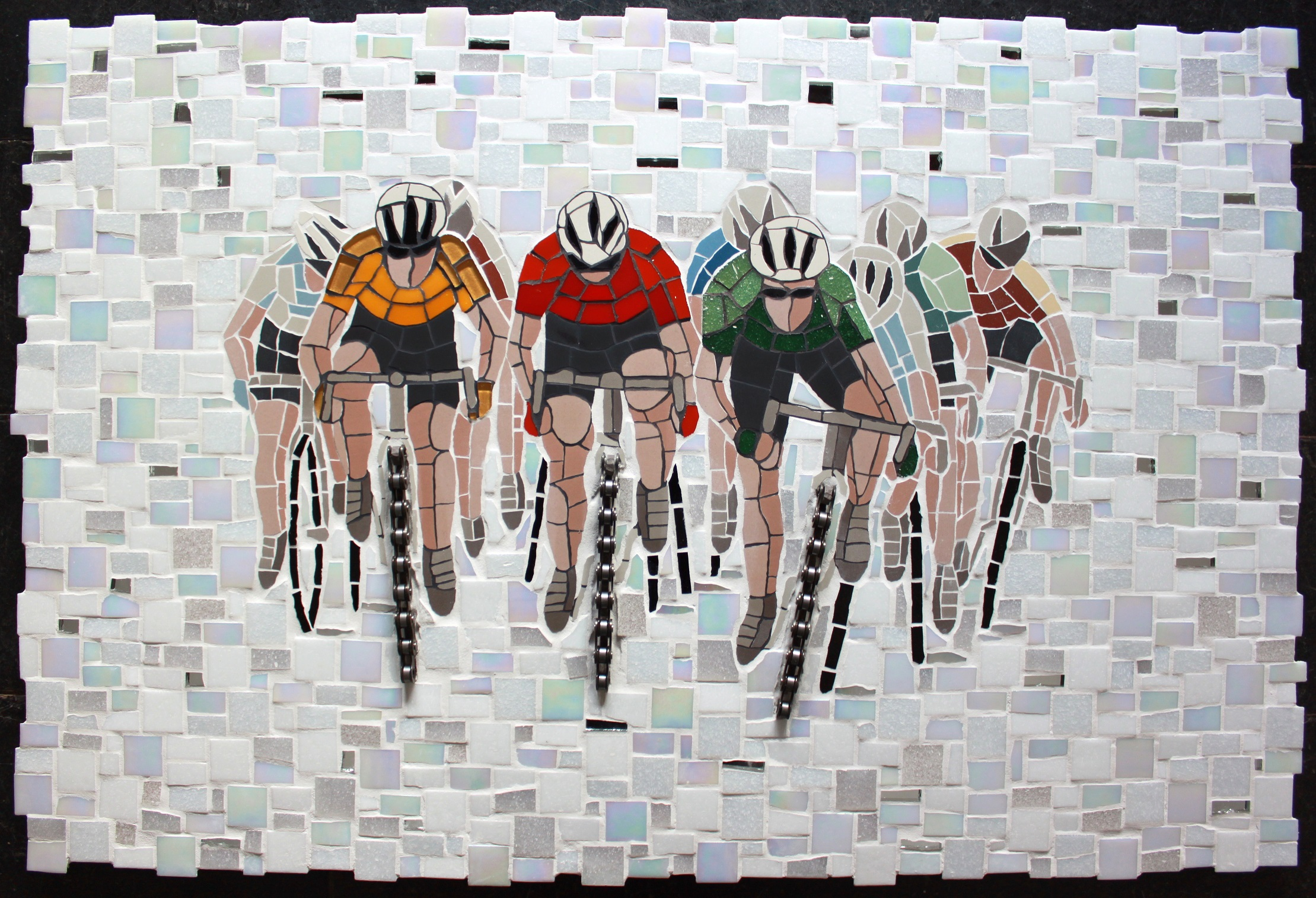 Cyclists on the move - using tradiitonal mosaic materals and bike chain